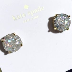 KATE SPADE 12-K GOLD PLATED ROUND GLITTER EARRINGS